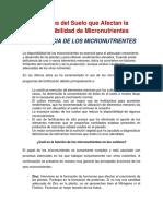 Factores del Suelo que Afectan la  Disponibilidad de Micronutrientes