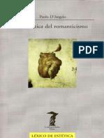 DANGELO PAOLO Estetica Del Romanticismo