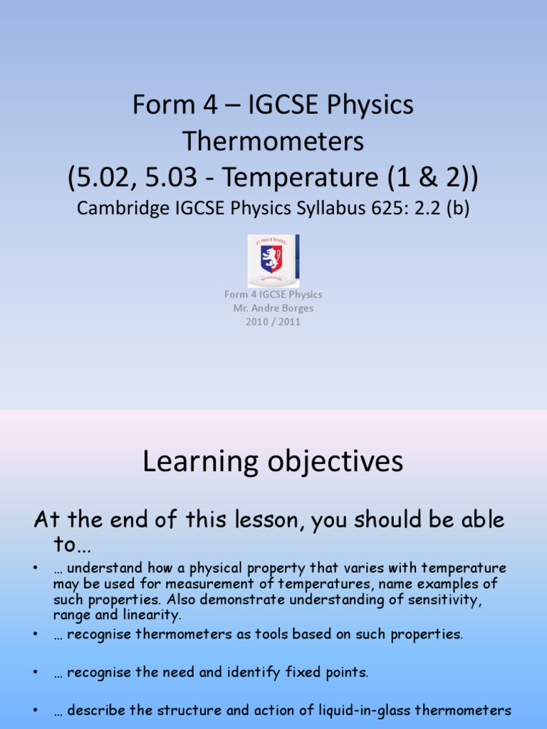 Form 4 Igcse Physics Thermometers Thermometer Celsius