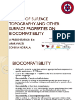 Effects of Surface Topography and Other Surface Properties