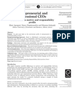 Entrepreneurial and Professional CEOs - Differences in Motive and Responsibility Profile