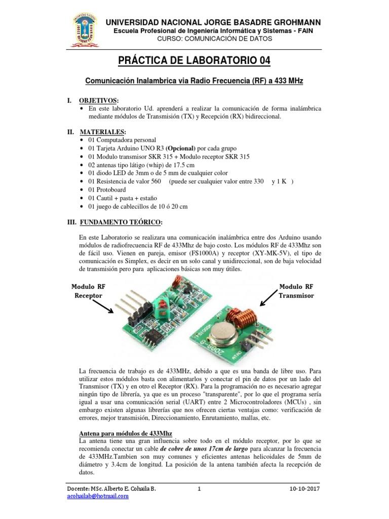 Practica De Laboratorio 04 Com Arduino Rf 2017