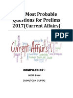 100 Most Probable Questions for Prelims 2017(Current Affairs)