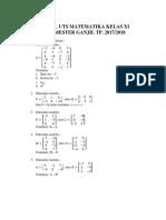 Soal Uts Matematika Kelas Xi Semester Ganjil 2017-2018
