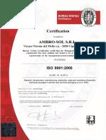 Ambrosol - Certificado de Calidad Iso-9001