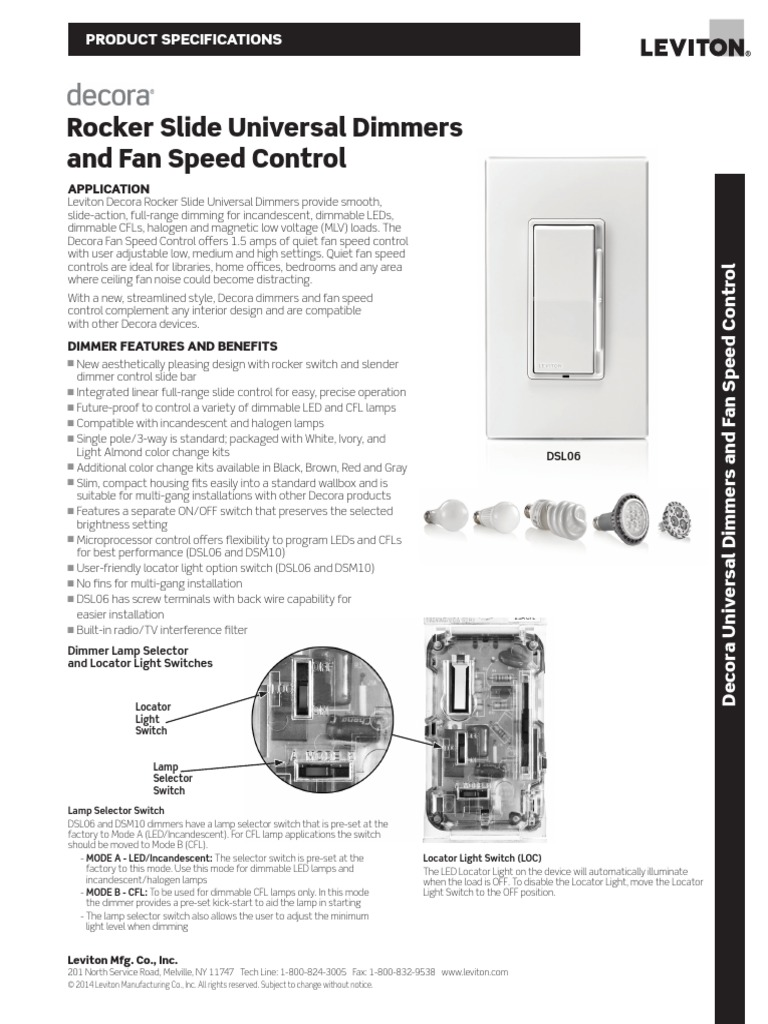 G-9242 Decora Dimmer Spec Sheet final.pdf | Compact Fluorescent ...
