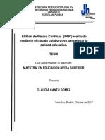 El Plan de Mejora Continua PMC Realizado Mediante El Trabajo Colaborativo Para Elevar La Calidad Eduativa