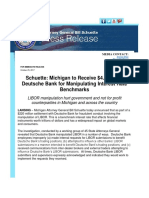 Schuette Michigan to Receive $4.3M from Deutsche Bank for Manipulating Interest Rate Benchmarks