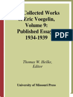 Eric Voegelin Published Essays 1934 1939