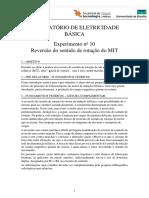 Experimento 10 - Reversão Do Sentido de Rotação Do MIT