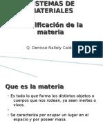 Sistemas de Materiales.clasificacion de La Materia