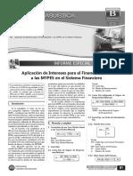Aplicación de Intereses Para El Financiamiento a Las MYPES en El Sistema Financiero