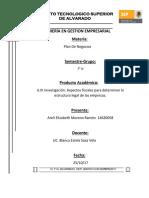 Aspectos Fiscales Para Determinar La Estructura!! Unidad 3 Blanca Plan de Negocios