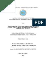 Tesis Digestibilidad y Aporte Nutricional de Quesillo Lacteo, Concentrado de Garbanzo y Papa Para La Alimentacion Infantil - García Rojas