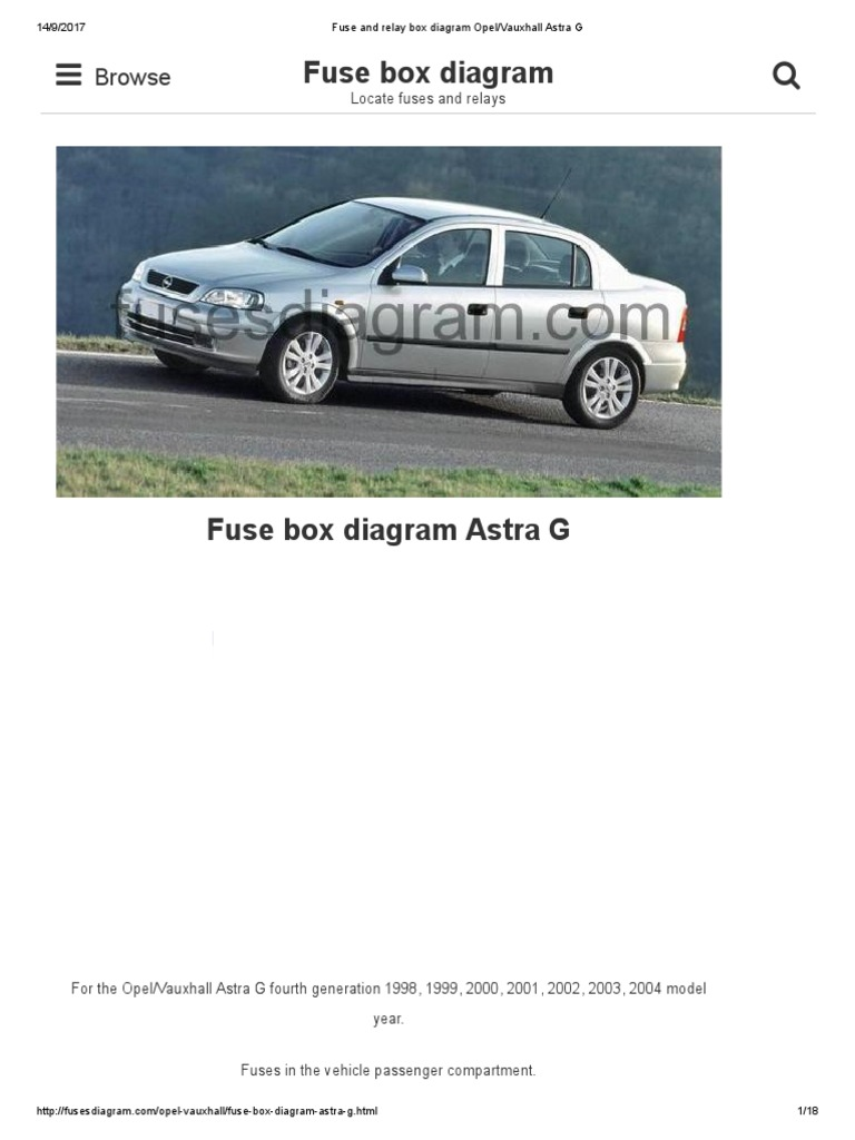 [DVZP_7254]   Fuse and Relay Box Diagram Opel_Vauxhall Astra G | Opel | Headlamp | Fuse Box Opel Astra 2001 |  | Scribd
