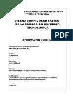 DISEÑO CURRICULAR BÁSICO  DE LA EDUCACIÓN SUPERIOR TECNOLÓGICA