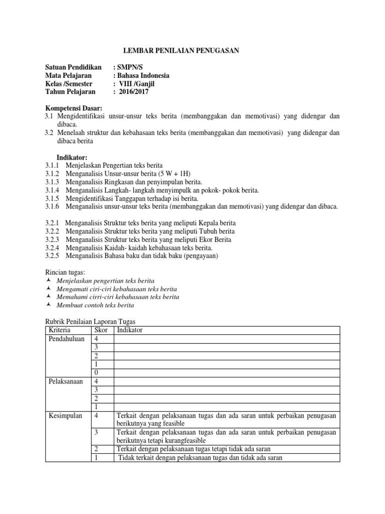 Lampiran Penugasan Rpp 1 Pertemuan 1