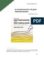 De La Gran Transformación a La Gran Financiarización