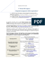 I Virtual CSR Congress-Towards Integrated Management Within Organizations - September 23rd 24th 2010