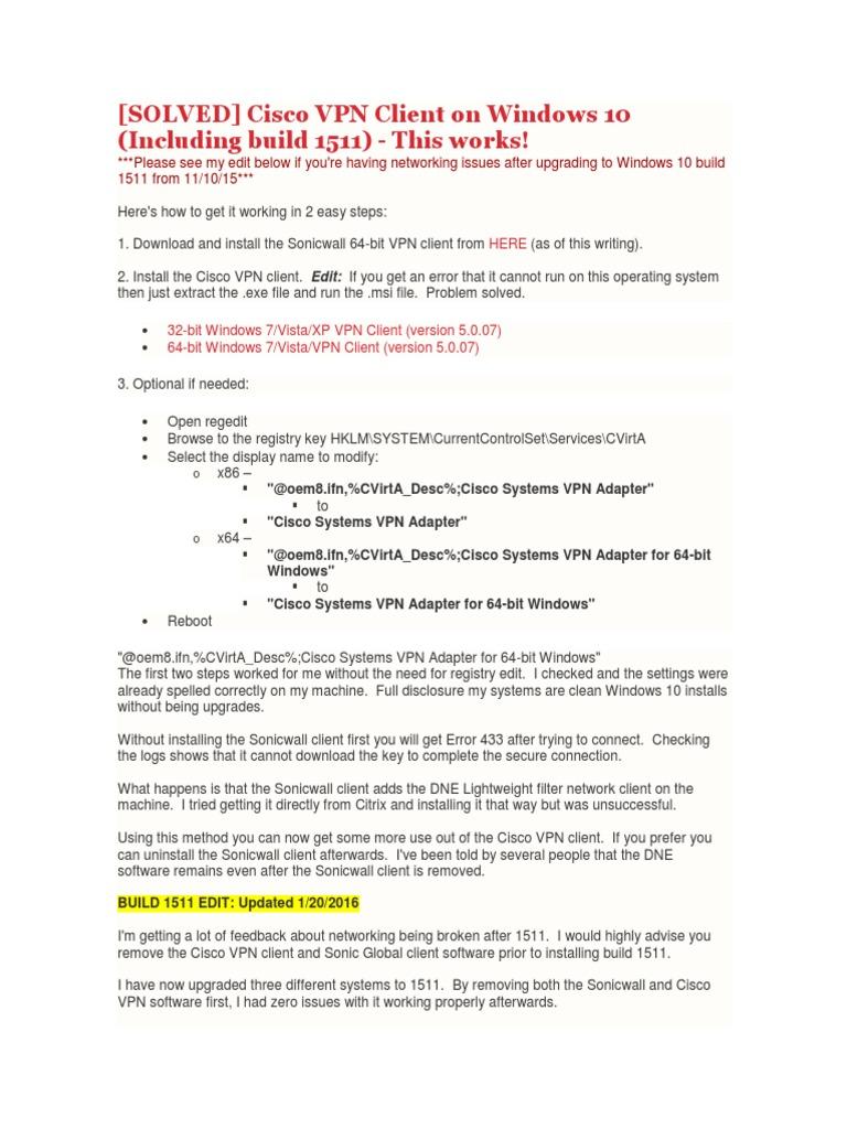 CISCO CLIENT 5.0.04 VPN TÉLÉCHARGER