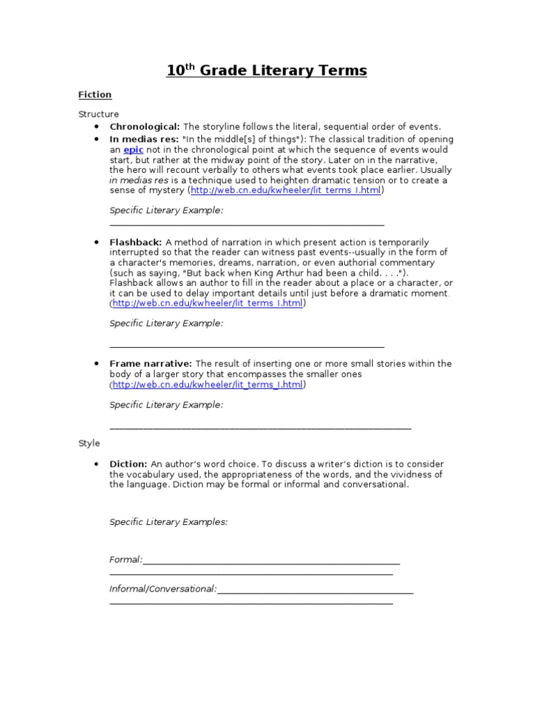 Lit Terms Packet for Students   Narration   Rhyme