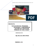 Proyecto de Velocidad y Comprension Lectora 2012