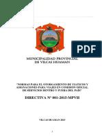 Directiva N° 001-2015 Viáticos