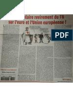 """[Rivarol] """"Spectaculaire revirement du FN sur l'euro et l'Union Européenne"""""""