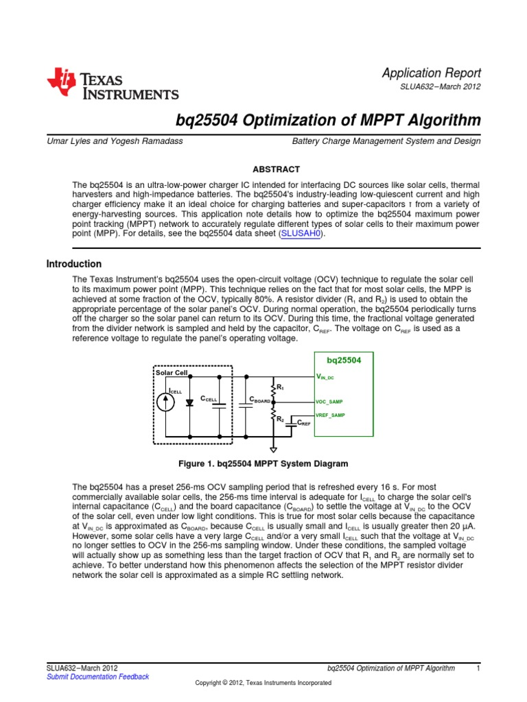 bq25504 Optimization of MPPT Algorithm: Application Report