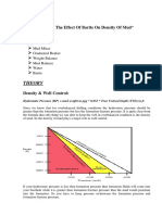 Effect of barite on density of drilling mud