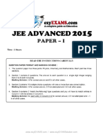 JEE Adv Previous Year Paper 2015 P1 EzyEXAMSolution