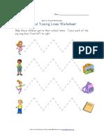 Back to School Tracing Zig Zag Lines Worksheet