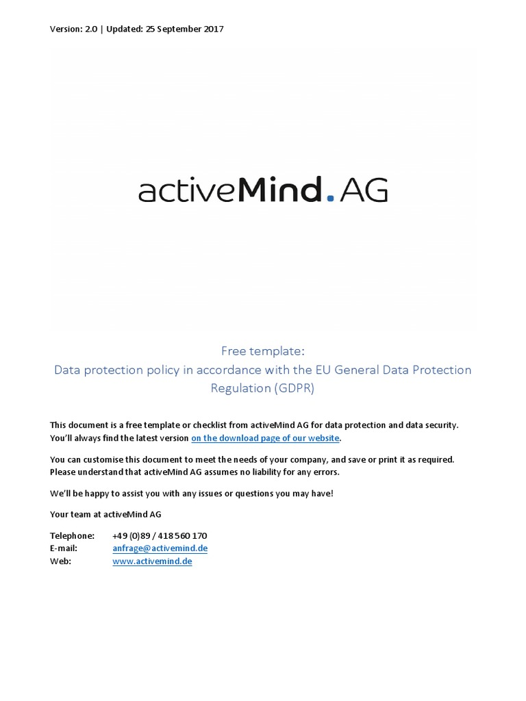 Activemind Ag Template Data Protection Policy 2017 09 25