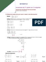 sistemas 2 ecuaciones 1er grado 2 incógnitas