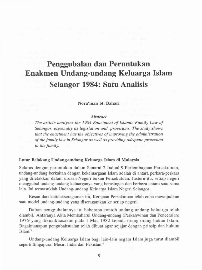 2 Penggubalan Dan Peruntukan Enakmen Undang Undang Selangor 1984 Ms 9 22 1