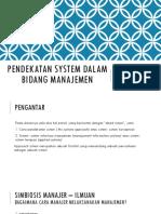 Pendekatan System Dalam Bidang Manajemen1
