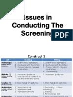 Issues in Screening LINUS2.0 LBI