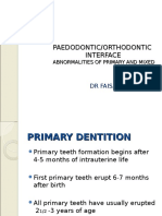 Abnormalities of Primary and Mixed Dentition
