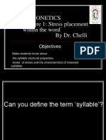 LECTURE 1 Word Stress Slides