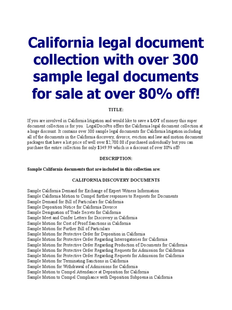 California Legal Document Collection For Sale Demurrer - California legal documents