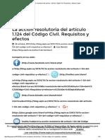 La Acción Resolutoria Del Artículo 1.124 Del Código Civil