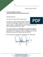 "Carta de CONMEBOL a FIFA, por la ""Copa Intercontinental de Clubes"""