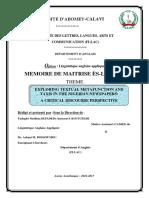 AKPADE Tadagbé Mathias; Mémoire de Maîtrise en Linguistique anglaise appliquée