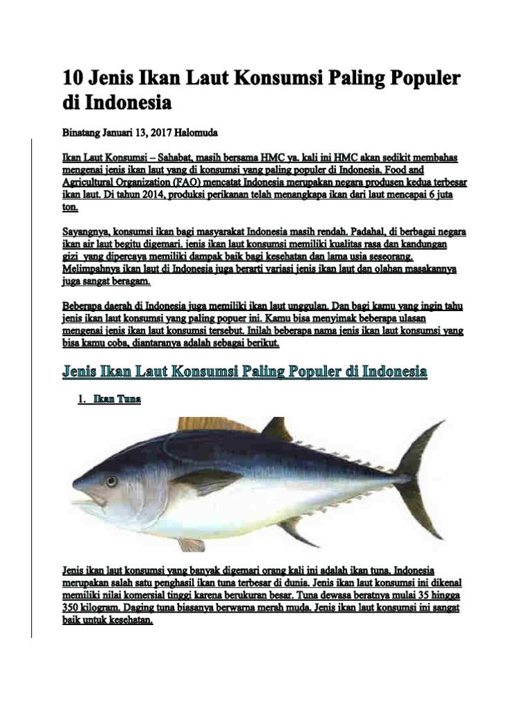 10 Jenis Ikan Laut Konsumsi Paling Populer Di Indonesia 2