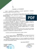 HOTARAREA NR 274 DIN 28-08-2017 Pentru Aprobarea Structurii Organizatorice a Spitalului Municipal de Urgenta Elena Beldiman''Barlad.