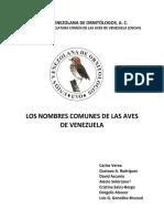 Nombres Comunes Aves de Venezuela 4ta Edicion 2017