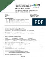 Model Paper Science