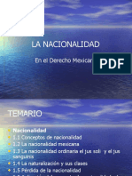 La Nacionalidad en El Derecho Mexicano