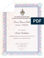 University Of The West Indies-Deans Honor Roll