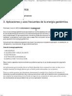 Aplicaciones y Usos Frecuentes de La Energía Geotérmica.